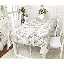 "ChezMax Linen Fabric Table Cover Blue Butterfly Pattern Rectangle Tablecloth 55"" x 70.8"""