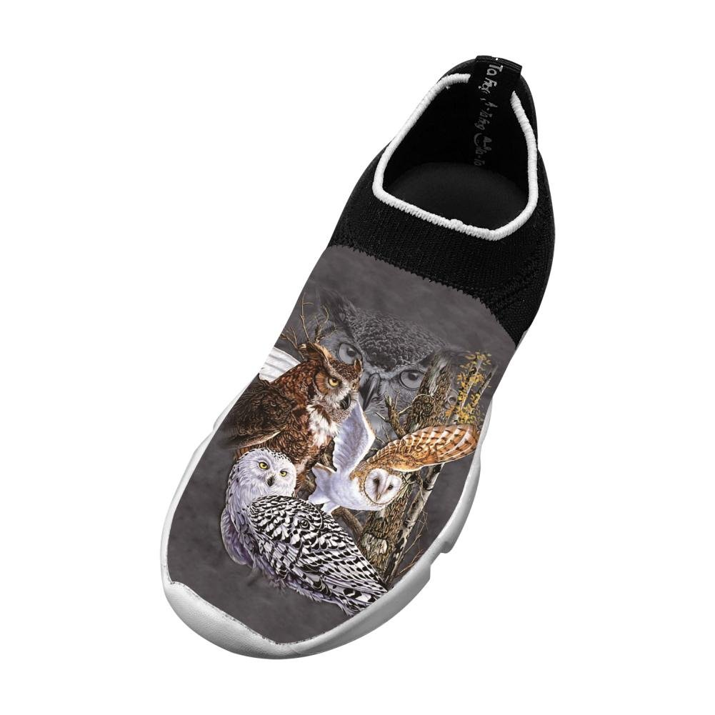 Sports Flywire Weaving Sneakers For Unisex Kids,Print Find Owls,