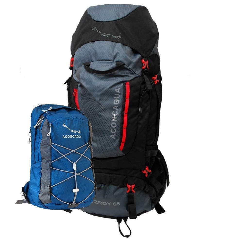 アコンカグア リュックサック2点セット Fitzroy 65Lと小さいリュック 登山バッグ 旅行 バックパック リュック  ブルー B07NNFWVTS