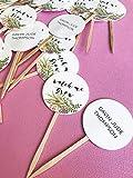 Watch Me Grow Favor Tags sticks, Let Love Grow, custom tags, reception favors, bridal shower, baby shower, succulent design, wood picks, set of 40