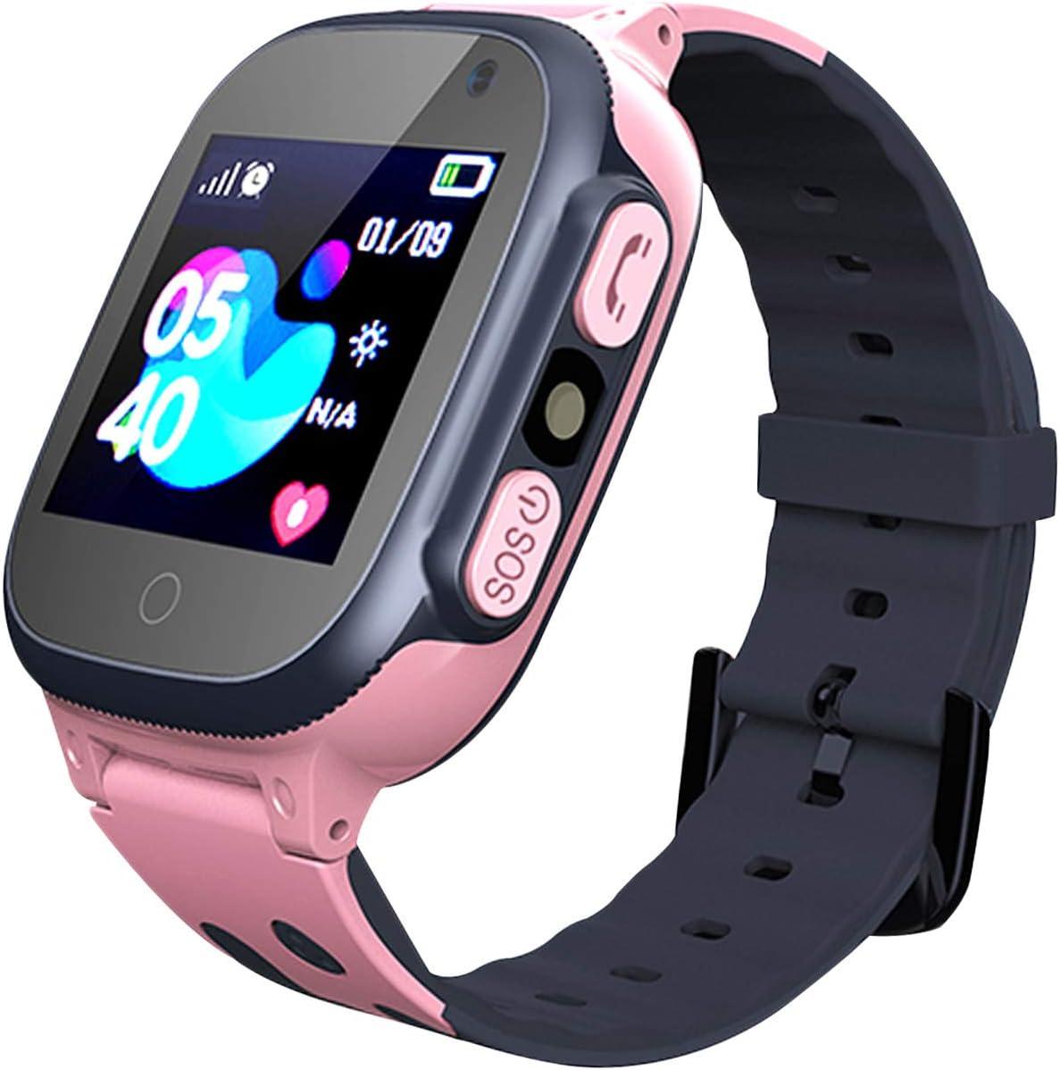 Jaybest Smartwatch Niños - Inteligente Relojes Phone con cámara SOS Ranura para Tarjeta de Juego Juego de Reloj Inteligente Compatible con iOS y Android(Rosa)