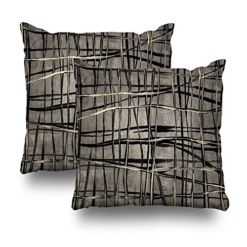 Kutita Decorativepillows Covers 18 x 18 inch Throw Pillow Covers,Contemporary Abstract Painting Lines Shades Gray Black Beige Cream Pattern Double-Sided Decorative Home Decor Pillowcase Sofa