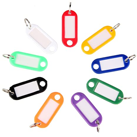f084cdf97384 Uniclife 40 Pack Tough Plastic Key Tags with Split Ring Label Window,  Assorted Colors