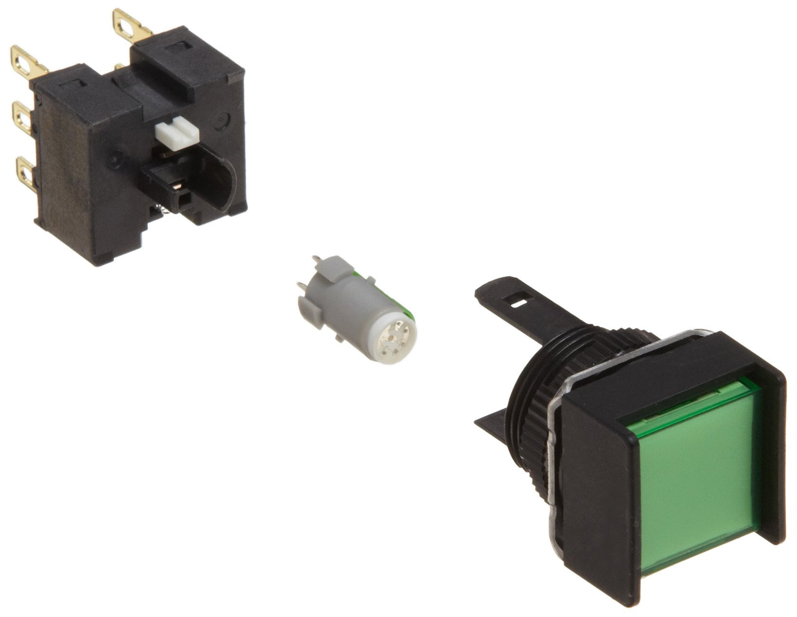 Omron A165L-AGA-24D-2 Two Way Guard Type Pushbutton and Switch, Solder Terminal, IP65 Oil-Resistant, 16mm Mounting Aperture, LED Lighted, Alternate Operation, Square, Green, 24 VDC Rated Voltage, Double Pole Double Throw Contacts