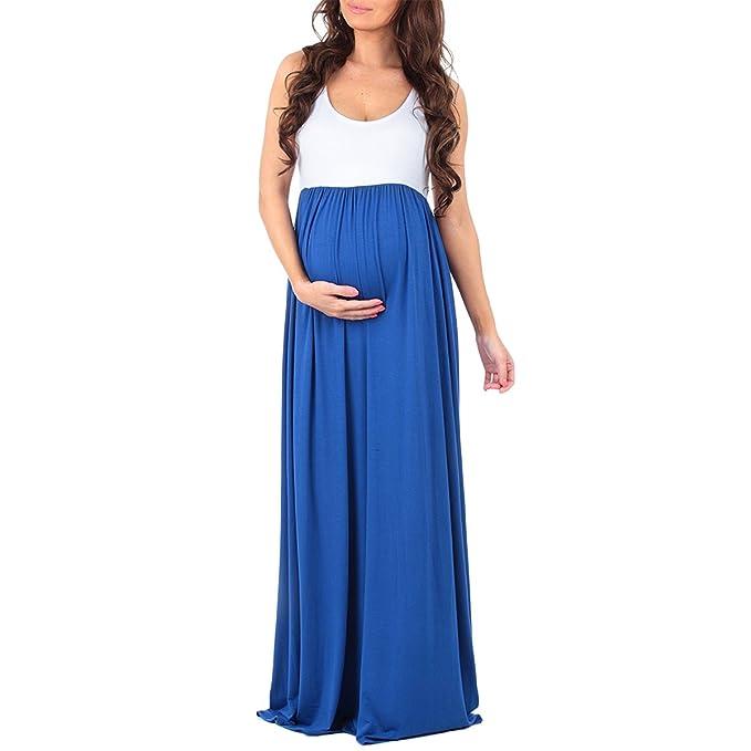 138cd5b5f Vestido largo sin mangas para mujer embarazada
