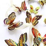 DAGOU Mixed of 12PCS 3D Pink Butterfly Wall