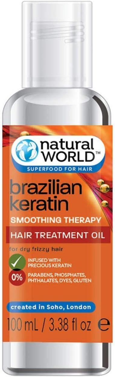 Natural World - Terapia de alisado de queratina brasileña, aceite para el cabello seco y crespo de queratina, 100 ml