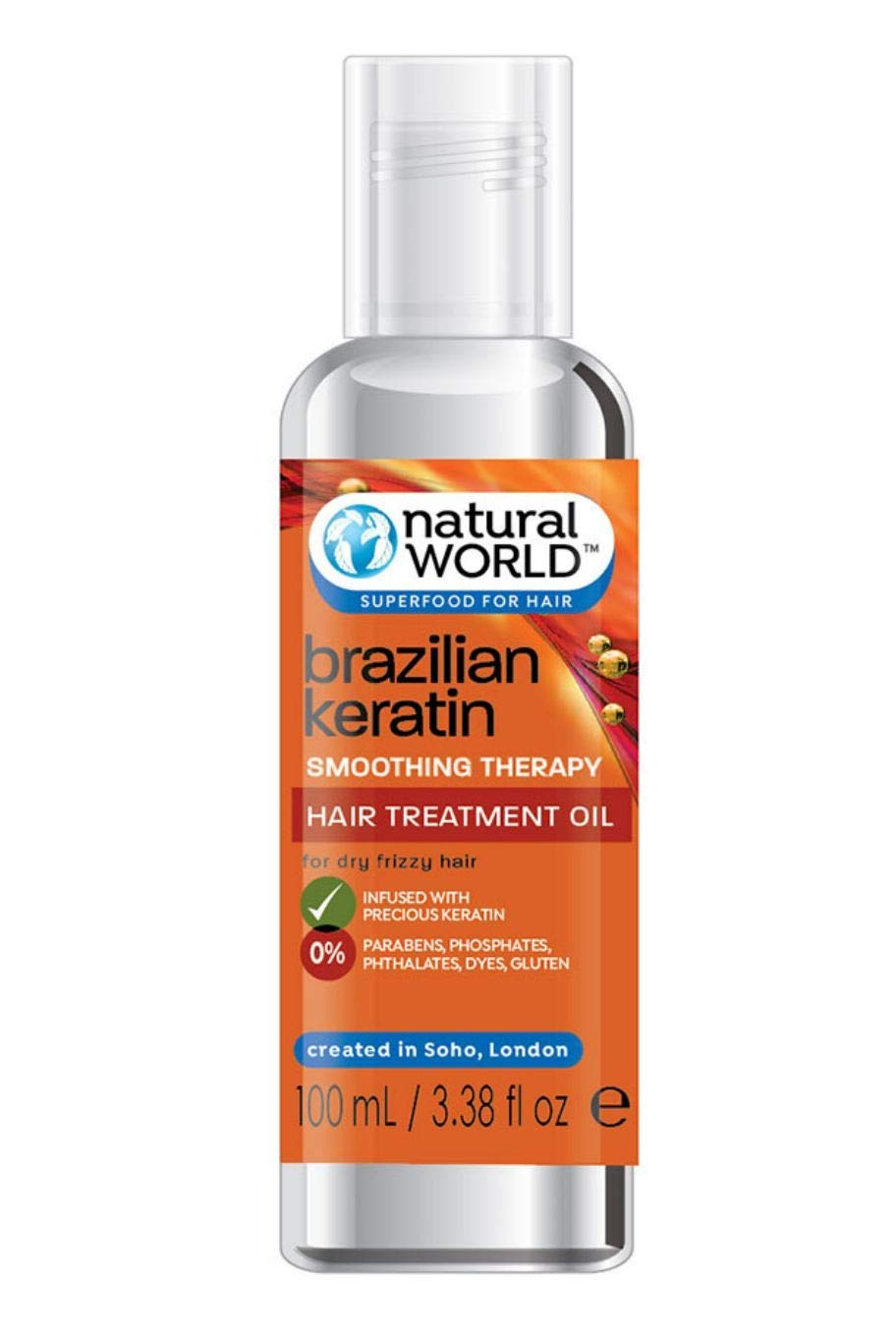 Natural World Brazilian Keratin Smoothing Therapy Hair Treatment Oil 100ml product image