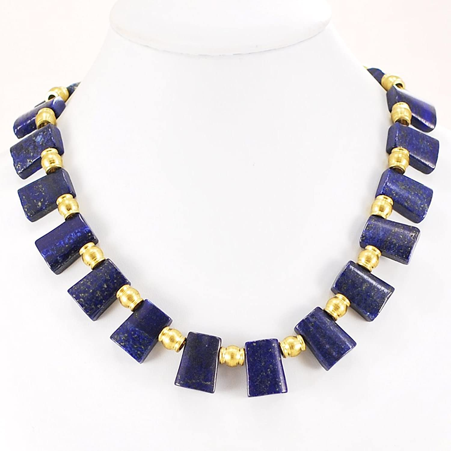 "001 Ny6design Blue Lapis Lazuli & Brass Necklace w Gold Plated Toggle 18.5-20"" N15101401e"