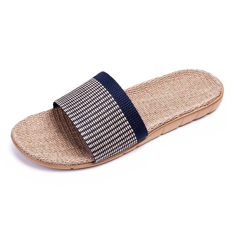bestfur Men's Breathable Lightweight House Linen Slippers
