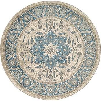 Luxury Vintage Persian Design Heriz Rug Cream 6 x 6 St.George Collection Area Rugs