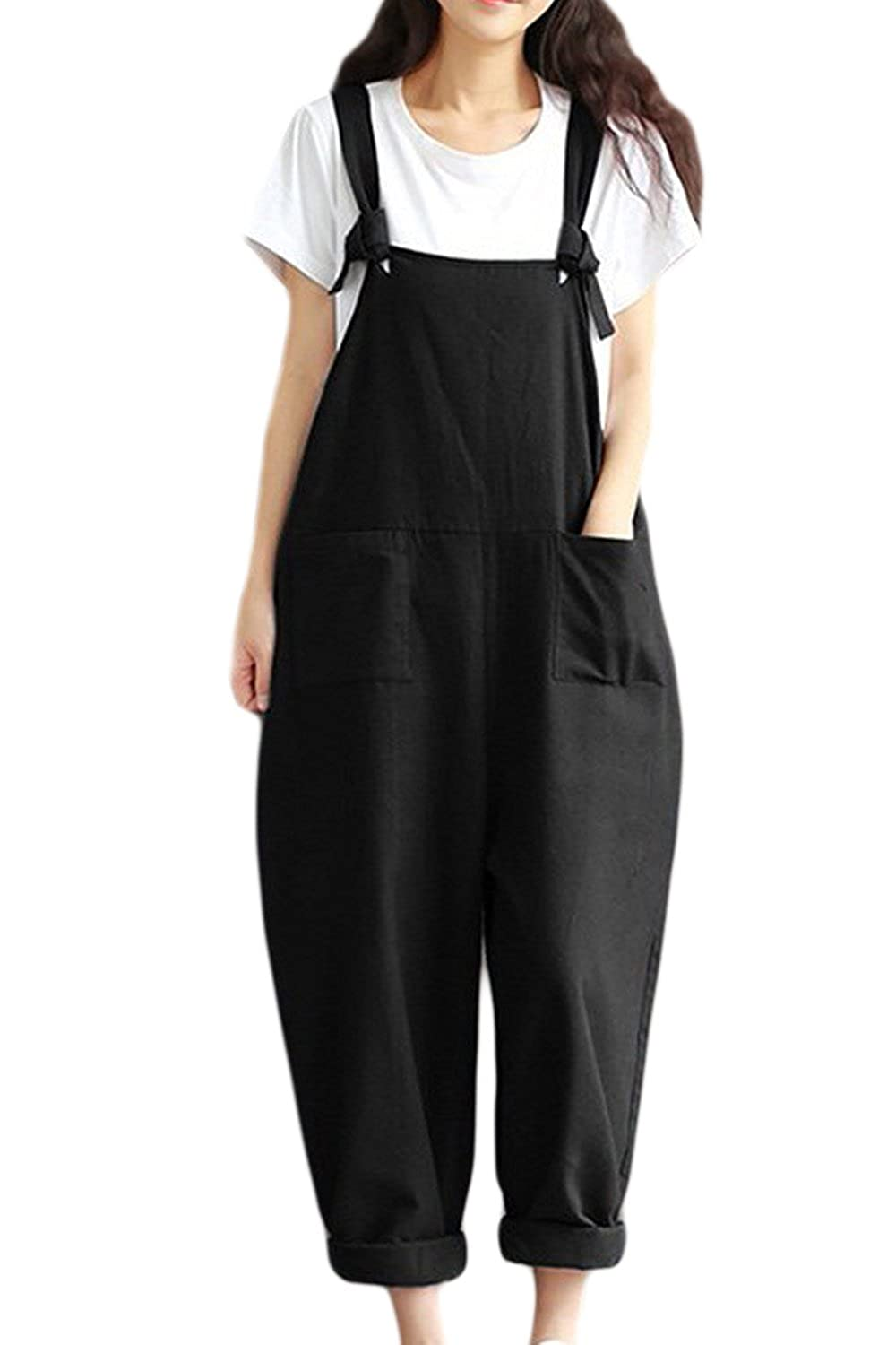 e52cadc579b0 Vepodrau Women Cotton Linen Overalls Dungarees Vintage Baggy Loose Long Jumpsuits  Rompers with Pockets  Amazon.co.uk  Clothing