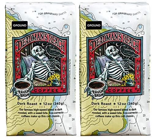 - Raven's Brew Ground Coffee 12 oz - Dark Roast - High Speed Blend with a Sweet Bite (Deadman's Reach, 2-Pack)