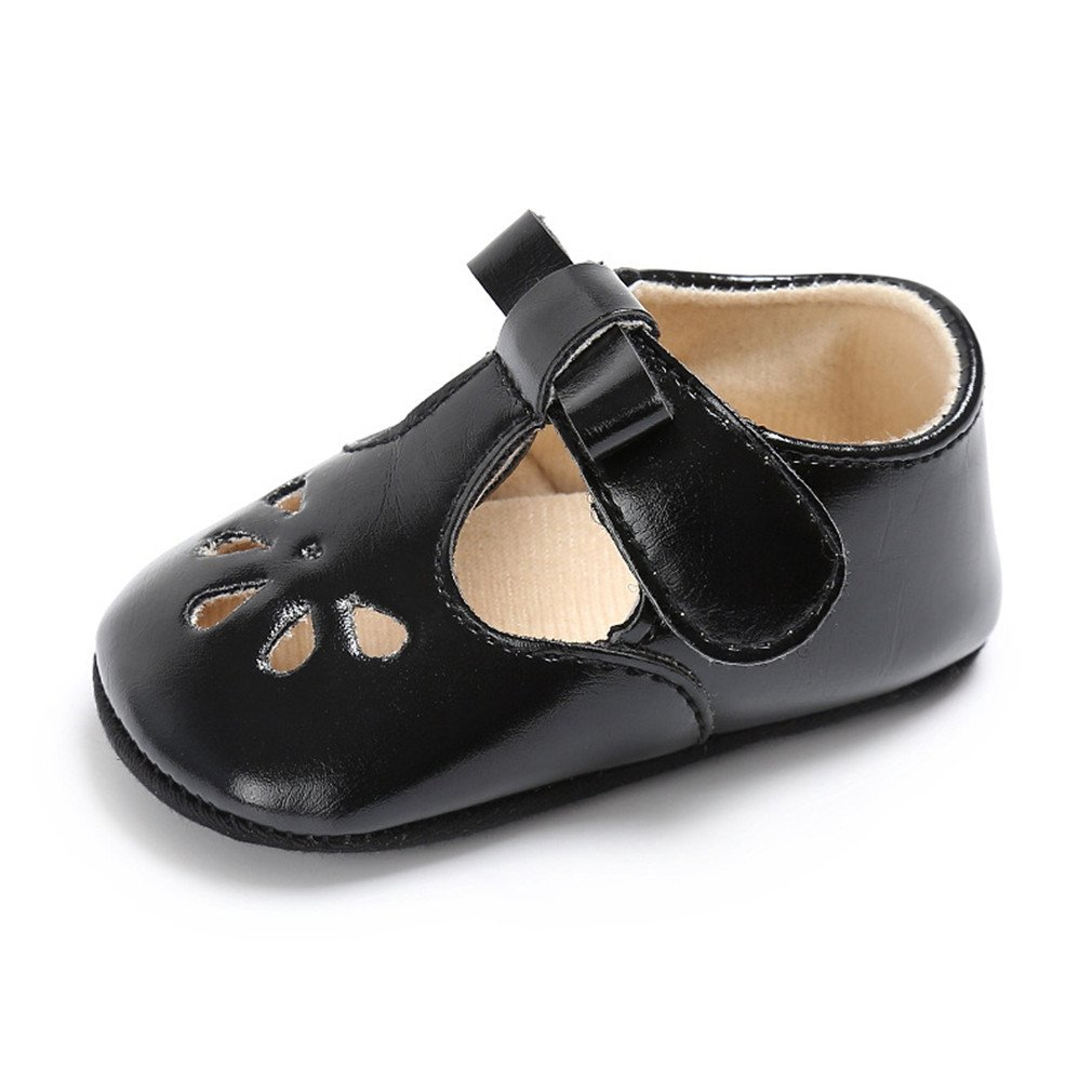 Soft Bottom Solid Girl Breathable Baby Shoes Buckle Strap black 5