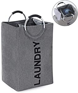 HOSEN Laundry Bag with 2 Compartments Extra Large with Divider with Handle Laundry Hamper Laundry Basket with Two Compartments