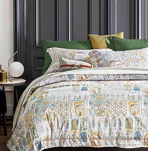 Patterned Pottery - Luxury Duvet Cover Vintage Portuguese Tiles Multicolored Azulejos Medallion Denim Blue Pattern 3 Piece Cotton Bedding Set (Queen, Pastel Peach)