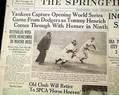WORLD SERIES New York Yankees vs. Brooklyn Dodgers Baseball 1949 Old Newspaper THE SPRINGFIELD UNION, Massachusetts, October 6, 1949