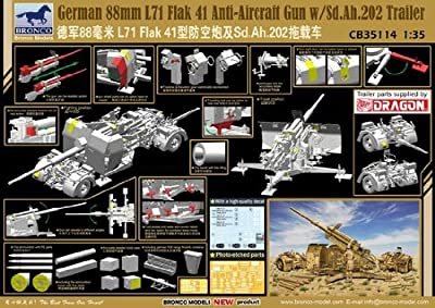 Bronco German 88mm L71 Flak 41 Anti-Aircraft Gun with Sd.Ah.202 Trailer 1:35 Scale Military Model Kit