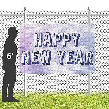 New Years 2018 Wind-Resistant Outdoor Mesh Vinyl Banner Inner CircleDisco Ball CGSignLab 12x8