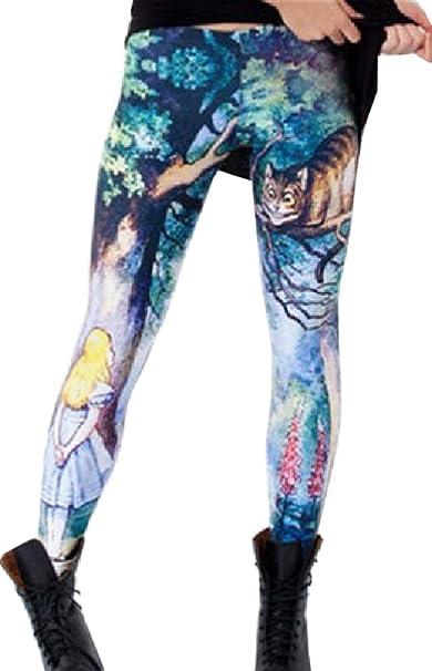 3d31fc3d03d67 Takra Gold Women 3D Print Cat Legging Sexy Novelty Fitness Leggin Alice  Cheshire Pants