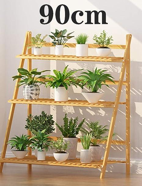 Inys Escalera de 3 Capas para Plantas, macetas de Madera macetas de Madera Estante de exhibición de Flores, balcón, estantería, estantería, balcón del jardín del hogar - (50/60/70/80/90 / 100cm),90cm: Amazon.es: Hogar