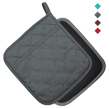 YEKOO Cotton and Neoprene Oven Pot Holder with Pocket 8 x8.5  Dual-Function Hot Pad Set for Finger Hand Wrist Protection Heat Resistant to 428°F Gray