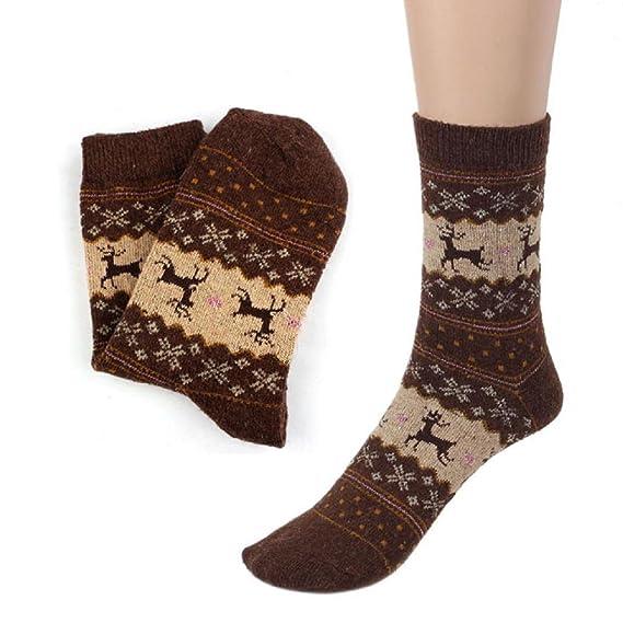 SHOBDW Mujeres hombre Diversión Divertida Funky Regalo de la novedad Ciervos de la Navidad Diseño Vintage Casual Calcetines largos de lana Suave Invierno ...