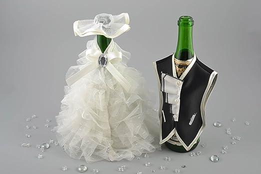 Ropa de boda para botellas hecha a mano fraque y vestido de novia ...