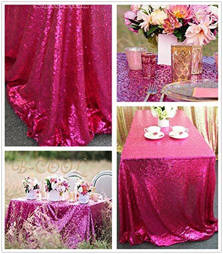 B-COOL 50''80'' Rectangle Fuchsia Sequin Tablecloth For