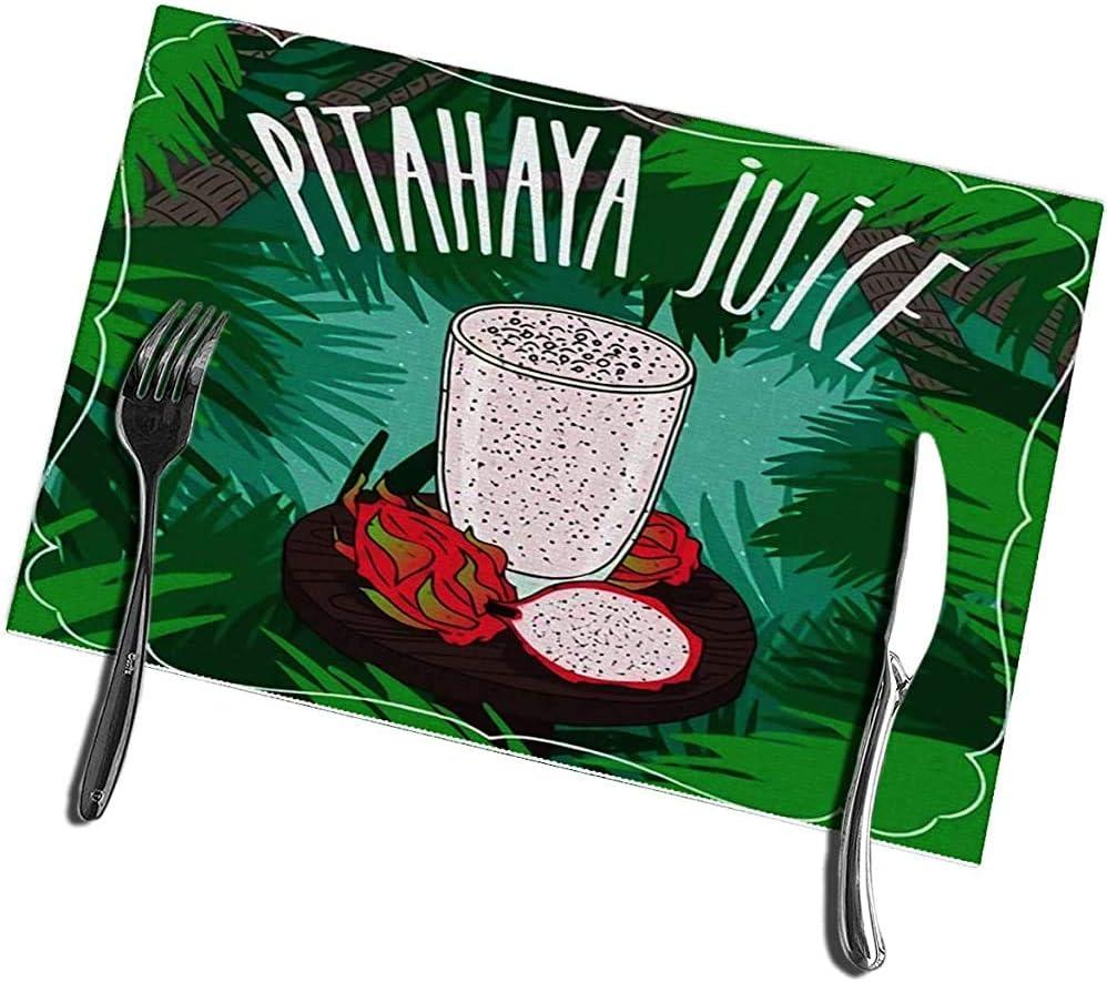 Manteles individuales para mesa Juego de 6 jugos frescos de pitaya o fruta de dragón en vidrio sobre mesa de madera con frutas maduras enteras y rodajas Trópico 12X18IN: Amazon.es: Hogar