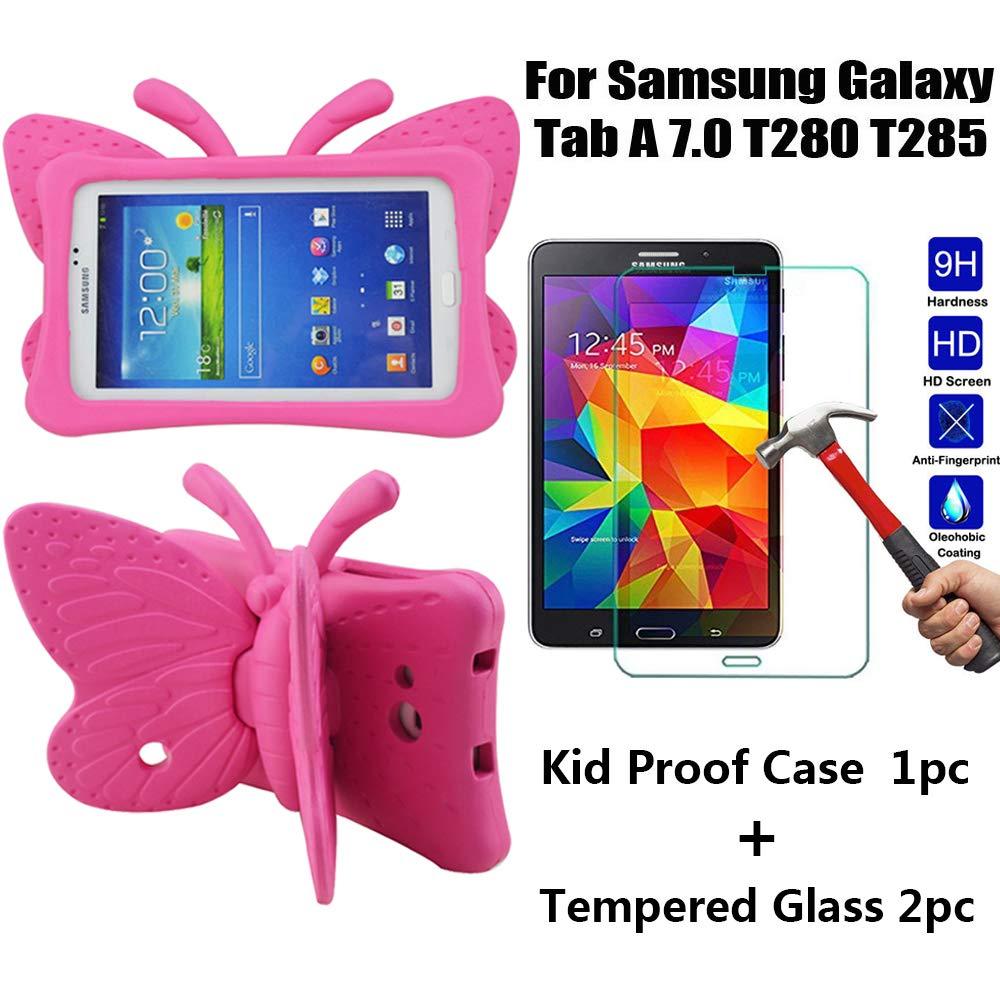 【新作からSALEアイテム等お得な商品満載】 Tading Galaxy Tab A 7.0 キッズケース 7インチ キッズケース 強化ガラススクリーンプロテクター付き 軽量 赤ちゃんに優しい保護カバー Tab - キュートな蝶の羽 スタンドとしても Samsung Galaxy Tab A 7インチ T280 T285用 - ローズ B07L1MWVTQ, ラジエーターのマエラヂ:b79aa065 --- a0267596.xsph.ru