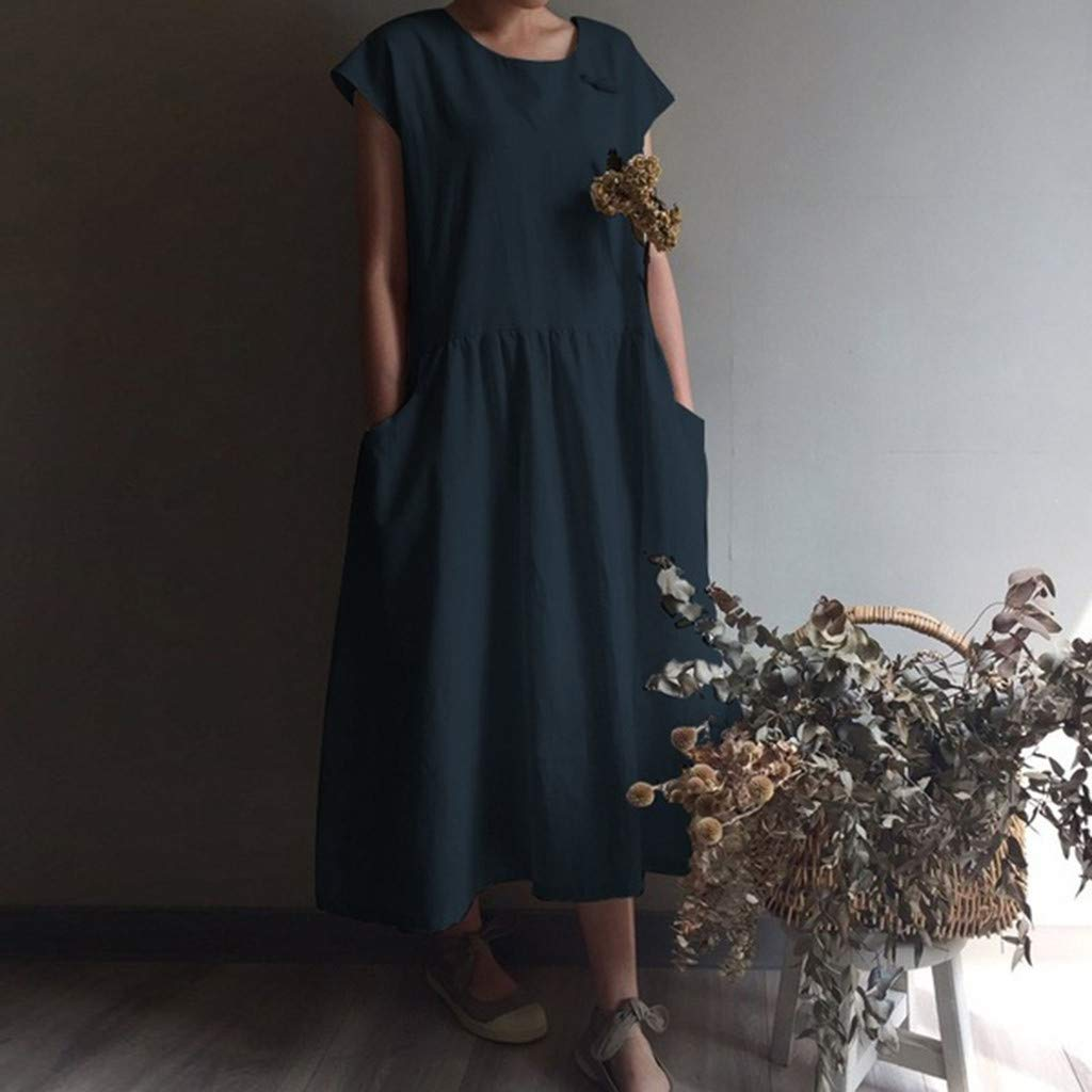 Women's Cotton Linen Dresses Cap Sleeve Summer Maxi O Neck Dress with Pockets Navy by Jianekolaa_Dress (Image #4)