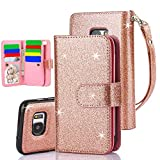 #1: Galaxy S7 Edge Case, TabPow 10 Card Slot - [ID Slot] Wallet Folio PU Leather Case Cover With Detachable Magnetic Hard Case For Samsung Galaxy S7 Edge Case, - Glitter Rose Gold