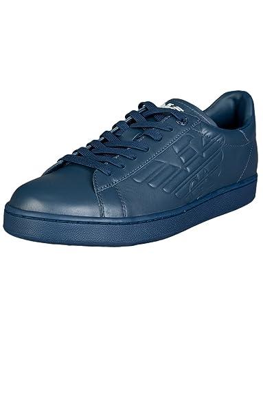 4bf9bc6397 Emporio Armani EA7 men s shoes leather trainers sneakers blu  Amazon ...