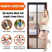 """#LightningDeal 85% claimed: Allezola Magnetic Screen Door, Keep Bugs Out, Let Fresh Air In, Black Instant Mesh Curtain with Full-Frame Velcro, Shut Automatically, Fits Doors up to 34""""×82"""""""