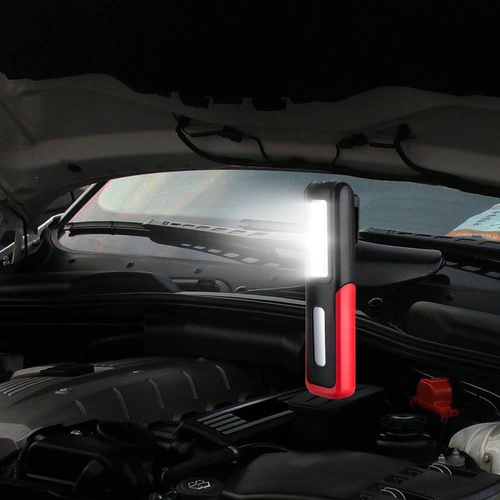 para Emergencia,Taller,Autom/óviles Eletorot Recargable Linterna de trabajo l/ámpara de inspecci/ón 3W LED COB Port/átil Linterna con magn/ético soporte y gancho colgante