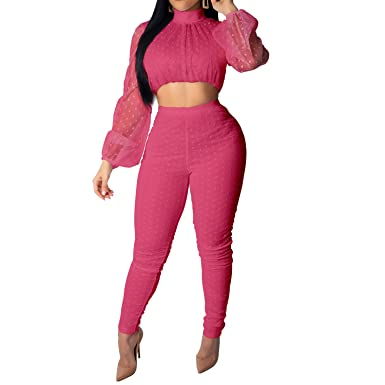 f64397107e94 Amazon.com: Women Sexy Club Outfits - Long Sleeve Mock Neck Mesh Dots Crop  Top and Skinny Long Pants Jumpsuits 2 Piece Set: Clothing