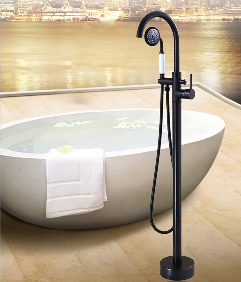 Tongbao Shower Bath Shower Set, Retro Fashion Brass Fittings, Multifunction Floor-Standing Shower Faucet, 360°C Rotatable Single Handle Hot and Cold Water Converter, 1.5m Hose,A