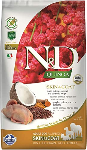 Farmina N D Functional Quinoa Skin Coat Quail Coconut and Turmeric Dry Dog Food 5.5 Pound