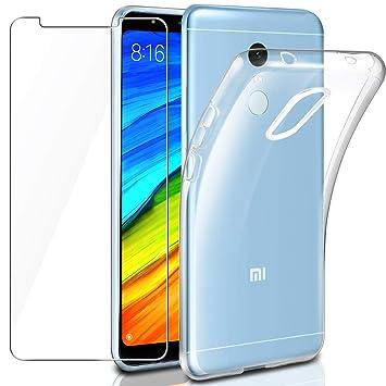Leathlux Funda + Cristal para Xiaomi Redmi 5 Plus, Transparente TPU Silicona [Funda+Vidrio Templado] Protector de Pantalla 9H Dureza HD Flexible Case ...