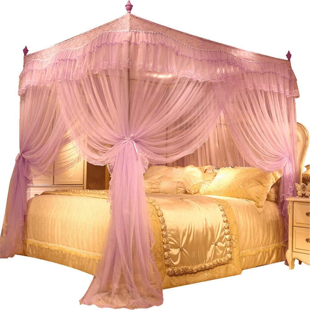 Three-Door Mosquito net Bedroom Single Bed Double Bed Gauze Home Princess Room Floor-Style Decorative Tent, Purple, 1.5M