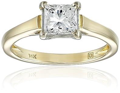 4b08b12f9f5ed IGI Certified 14k Gold Classic 4-Prong Princess-Cut Diamond Solitaire  Engagement Ring (1 carat, HI Color, I1-I2 Clarity)