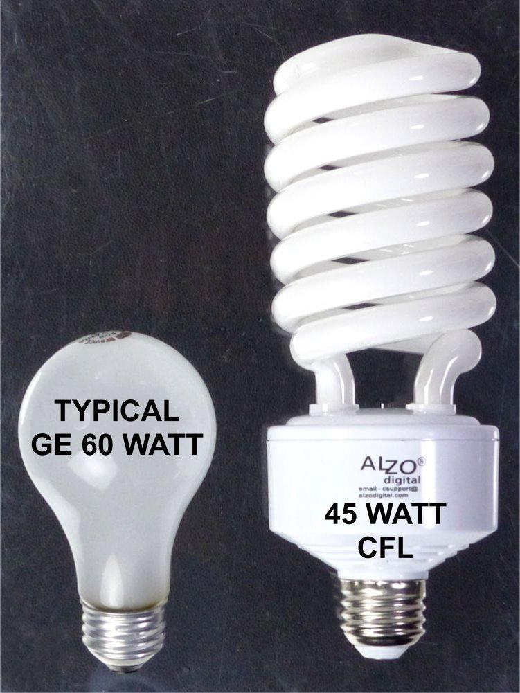 Alzo Digital 45W 120V CFL Video-Lux Photo Light Bulb, 5600K, 2800 Lumens, Pack of 4