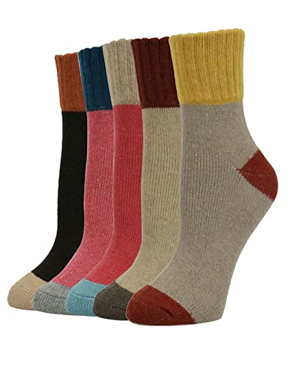 39a9ce212 5 Pairs Womens Thick Knit Warm Casual Wool Crew Winter Socks (fits shoe  size 5