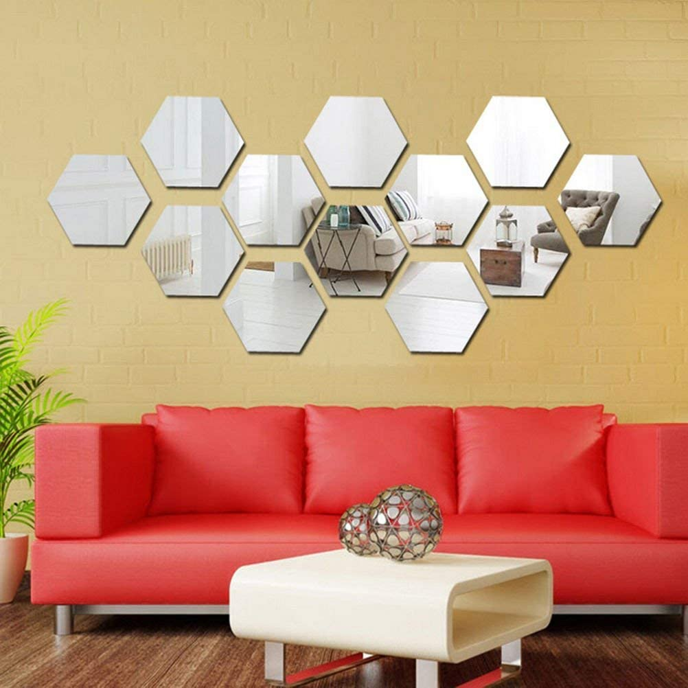 Yongpan per scrapbooking 50 adesivi a specchio esagonali in acrilico per fai da te 4 artigianato e decorazione della casa Silver