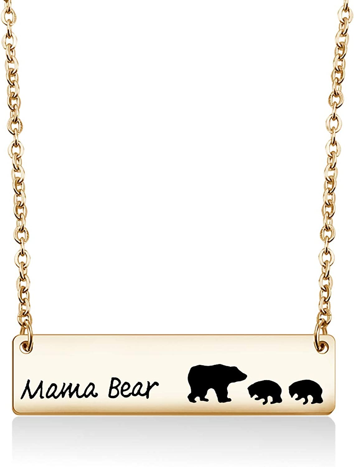 Zuo Bao Sweet Mama Bear Bar Necklace Mother Necklace Mama Bear Jewelry for New Mom