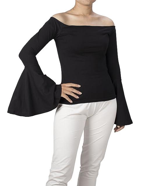 Lofbaz Mujer Fuera del Hombro Campana Trompeta Manga Suéter Blusa Camisa: Amazon.es: Ropa y accesorios