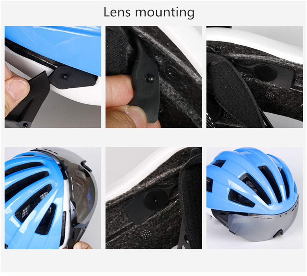 L&U PC EPS Fahrradhelm mit mit Schutzbrille, Einteiliger Helm mit mit atmungsaktivem Komfort und Insektennetz, Verstellbarer Kopfumfang, Objektiv austauschbare Mountainbike-Ausrüstung (schwarz grün) 3982fa