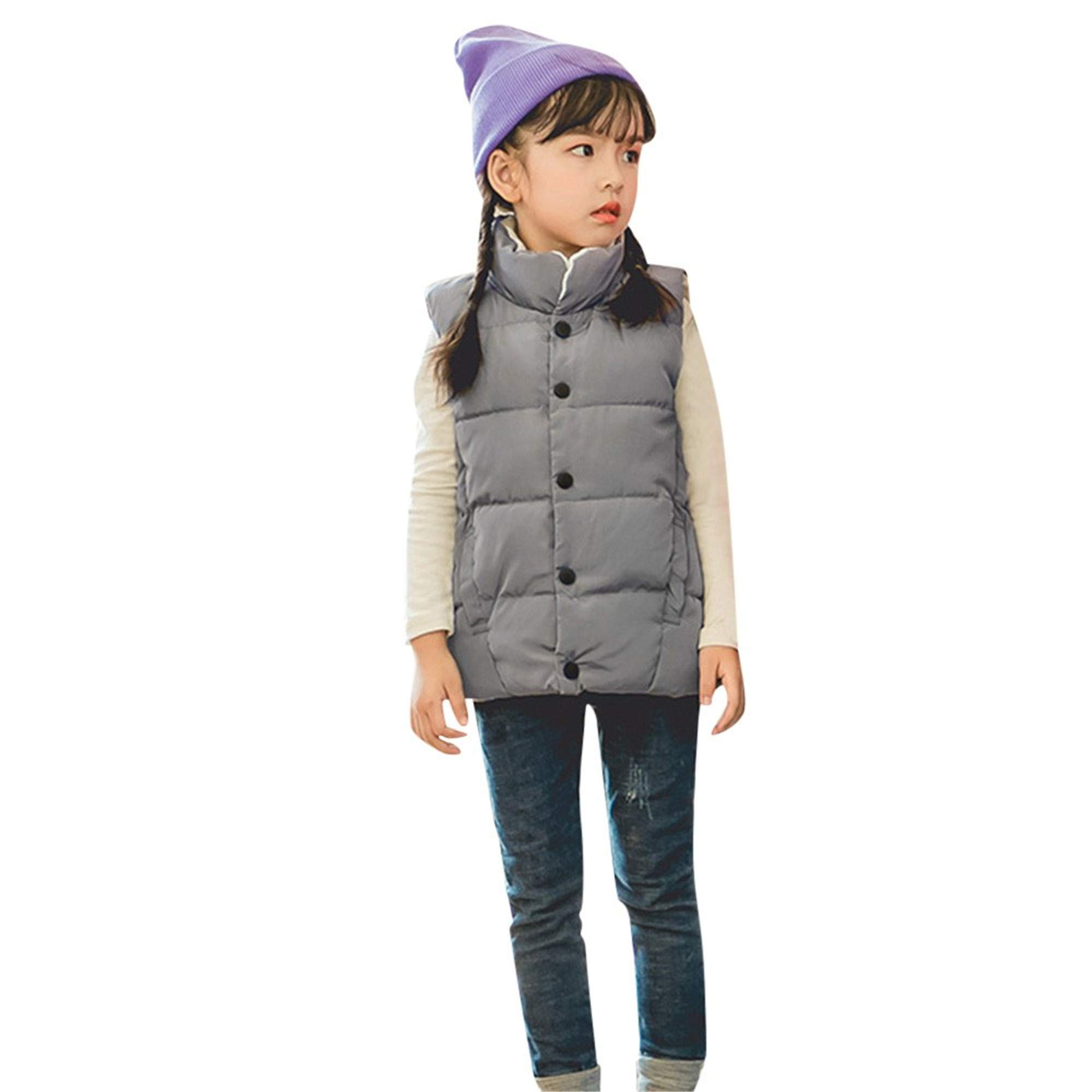 SMALLE ◕‿◕ Boys Girls Down Vest Kids Lightweight Zip Quilted Sleeveless Jacket Winter Hooded Waistcoat Coat