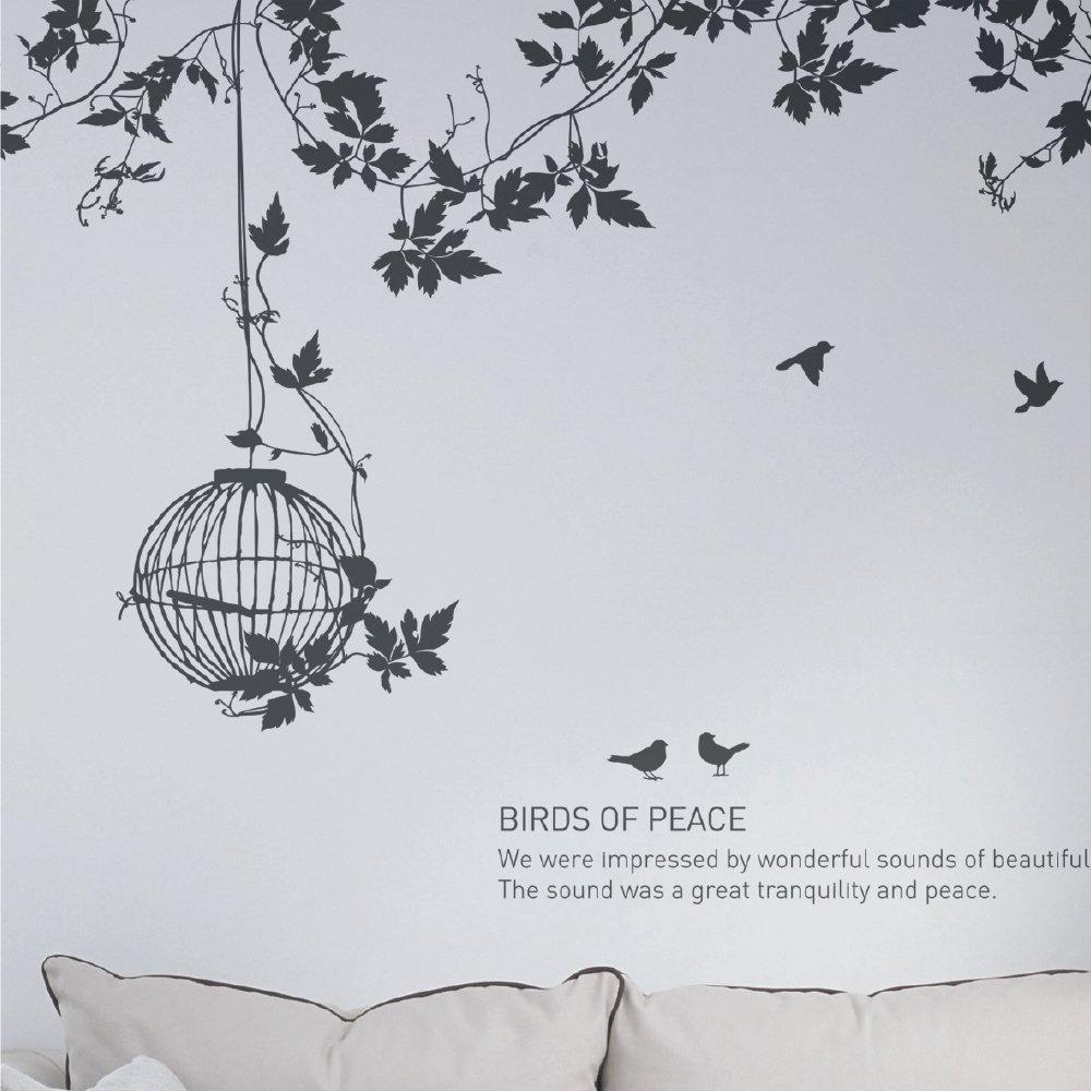SANGSANGHOO(サンサンフー) ウォールステッカー 鳥たちの庭園 (ブラック) GS0178300 B00W2ZEPFM ブラック ブラック